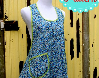 Instant Download Pearls Pinny a Vintage Feedsack Style Kitchen Apron Pattern PDF Easy to Sew