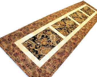 "Paisley Quilted Table Runner, Black and Brown Shimmering Table Runner Quilt, 50 x 13 1/2"", Quiltsy Handmade Patchwork Quilt"