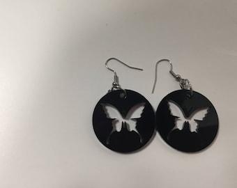 Black Acrylic Butterfly Earrings