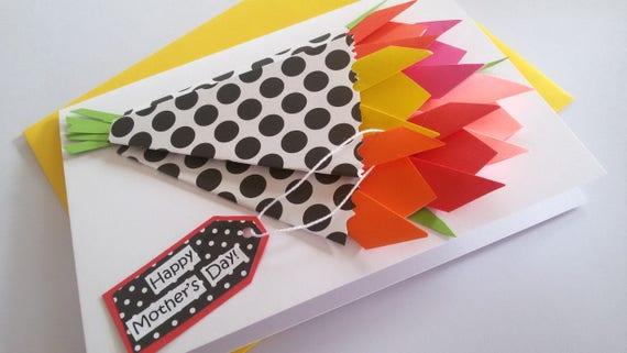 Mothers day flower card birthday card origami flower mightylinksfo