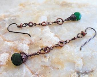 Long wire wrapped green quartz and copper earrings, niobium hypoallergenic wires, green quartz briolettes, antique copper wire, chain