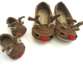 Mommy and Me Reindeer Slippers - Christmas slippers - mother daughter - womens slippers - baby booties