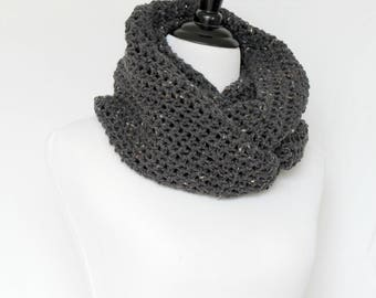 Crochet cowl, infinity scarf, knit cowl, large cowl, loop scarf, infinity loop, crochet scarf, grey cowl,