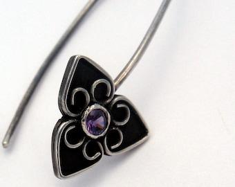 Amethyst birthstone flower earrings filigree trillium dangle earrings black flower earrings gemstone birthstone earrings