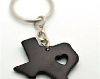 Black  My Heart is in Texas Key Chain  State Love