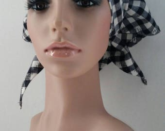 Attractive and Useful Fashionable Black and White Checked Head Scarf, Bandana