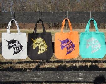 Beautifully Wild Unicorn Tote Bag - Canvas Bag - GLITTER!