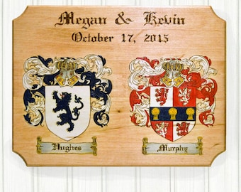 Wedding, Anniversary Double Coat of Arms, Wood Burned, Hand Painted