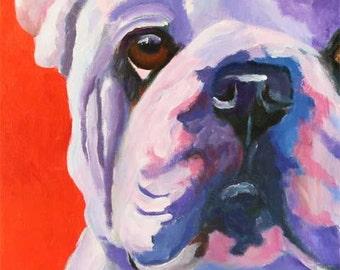 Bulldog Art, Bulldog Print of Original Acrylic Painting - 8x10