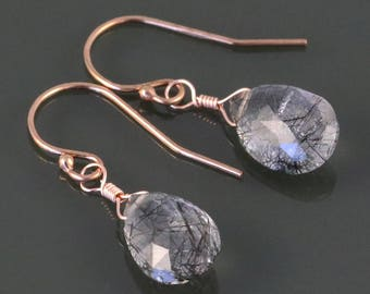 Rutilated Quartz Earrings. Rose Gold Filled Ear Wires. Genuine Gemstone. s17e007