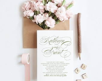 Printable Wedding Invitation Suite, Traditional Calligraphy, Print Your Own, Printable, DIY, Instant Download (Bianca)
