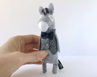 Donkey Stuffed Animal, Stuffed Donkey Toy, Felt Donkey Figurine, Donkey Plush Toy, Donkey Doll, Soft Animals, Felt Animals, Donkey Gifts