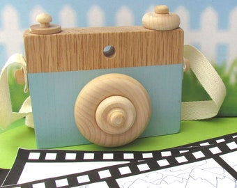 Blue Wooden Camera Toy with push button and rotatable lens - MDH Blue Wooden Camera by MDH Toys