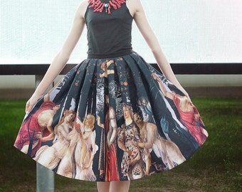 OLD MASTERS redoux printed skirt | BOTTICELLI Primavera painting fine art classic gothic lolita rococo baroque statement party lux plus size