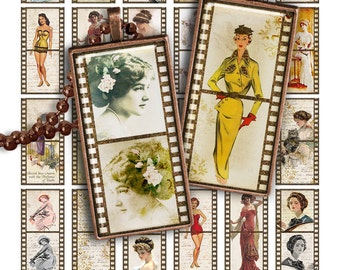 "75% OFF SALE Digital collage sheet PR006 Film Strip 1x2"" Domino image Printable Download 1x2 inch rectangle glass pendant resin image"