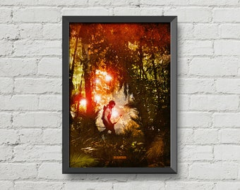 Rambo poster,movie posters,movie prints,art,orange,sylvester stallone,digital print,man cave,wall art,men gift