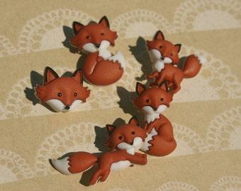 Fox Buttons - Foxes Button Foxy Buttons - Sewing Bulk Buttons - 5 Shank Buttons