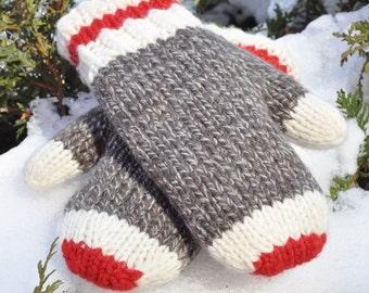 Hand Knit Mittens Original Sock Monkey Design