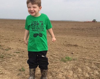 Big Green Tractor, Tractor Shirt, Boys Tractor Shirt, John Deere tractor, farm shirt