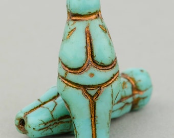 Goddess Beads - Quantity 8 - Turquoise with Bronze Detail