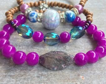 Fuschia and blue beaded bracelets (set of three)