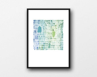 Sea glass Wall Art Print, Abstract Watercolor Painting, blue green Pebbles