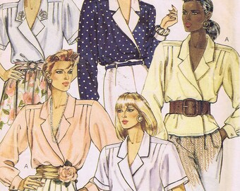 Vintage McCalls Sewing Pattern 4126 Ladies Blouse Shirt Size 14 UNCUT