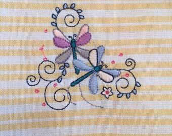 Embroidered Dragon Flies - Kitchen Towel