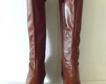 Vintage 70's Ox Blood Knee High Leather Boots - Dark Cinnamon Brown 7
