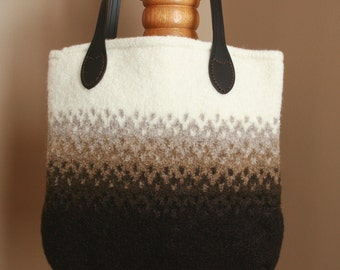 Brown ombre wool felt tote bag