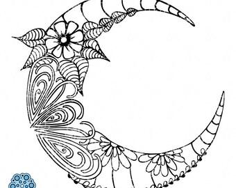 SVG & DXF design - Zentangle Doodle Moon cut files (Cricut \ Silhouette)