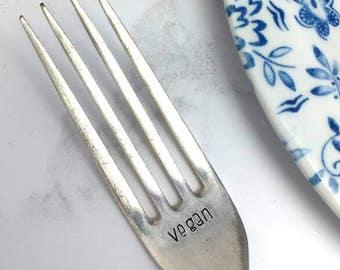 Vegan vintage hand stamped fork - vegan cutlery - personalised word cutlery - vegan gift