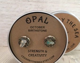 Opal October Birthstone Earrings, Simple and Elegant, Gift for Teenager, Gift for BFF, Gift for girlfriend, Raw Stone Earrings