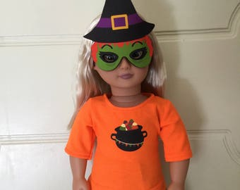 Halloween Witch Outfit/Costume with Mask for 18 in. Dolls (American Girl, Our Generation, etc.)