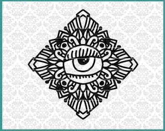 CLN0651 Halloween Decor Eye Zentangle Block Square Diamond SVG DXF Ai Eps PNG Vector INstant Download Commercial Cut File Cricut SIlhouette