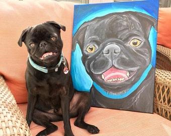 Custom Pet Portrait Canvas Painting