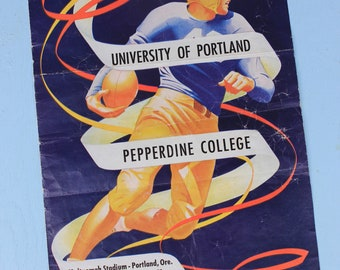 Vintage 1948 Football Ad, University of Portland vs Pepperdine College