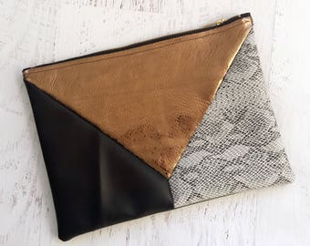 Metallic Geometric Black, Copper & Snakeskin Faux Leather Clutch - Gift for her, Birthday, Anniversary, Bridesmaid