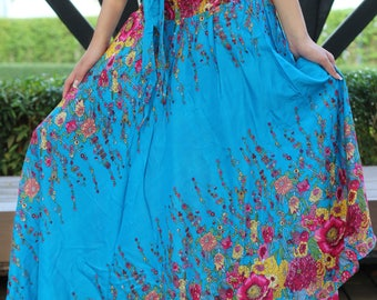 Flower Maxi Skirt Gypsy Skirt hippie Skirt One Size Fits Blue