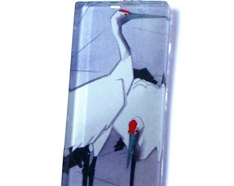 Glass Tile Pendant Image of A Pair of Red-Crowned Cranes Japanese Painting