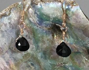 Rose Gold Fill Black Spinel Earrings
