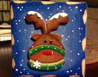 Reindeer block decoration