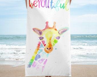 "Rainbow Giraffe ""beYOUtiful"" Beach Towel"
