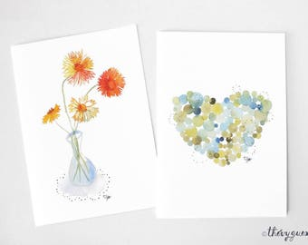 Flower heart watercolor cards, Flower greetings card, Birth announcement, Flower stationery, Cute stationery, Dot heart, Still life flower