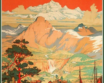 Art Print Norway Midnight Sun Travel Poster 1930s - Print 8 x 10