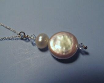 Freshwater Pearl Swarovski Crystal Necklace, Pearl Necklace, Coin Pearl, Freshwater Pearl, Sterling Silver, Swarovski Pendant, Pearl Drop