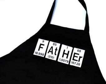 Father Periodic Table Elements Black Men's Grill Apron