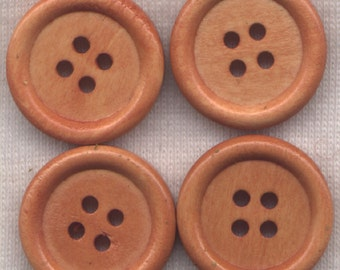 Light Brown Buttons Sturdy Wooden Buttons 20mm (3/4 inch) Set of 8/BT44