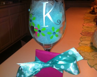 Four Flowers with Gems wine glasses perfect for bridesmaids Personalized