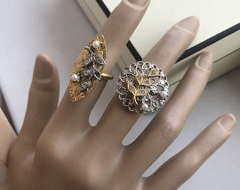 vintage signed vogue filigree statement rings with leaves, faux pearls and rhinestones